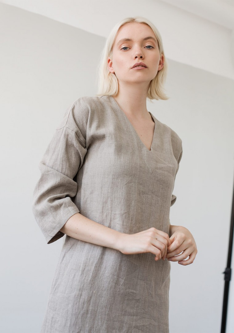 Linen tunic dress Georgia in natural 3