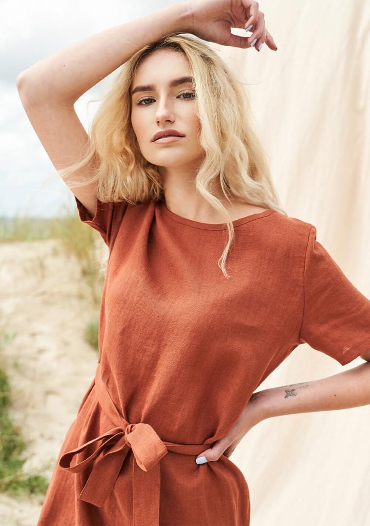 Linen dress with belt Nora 1