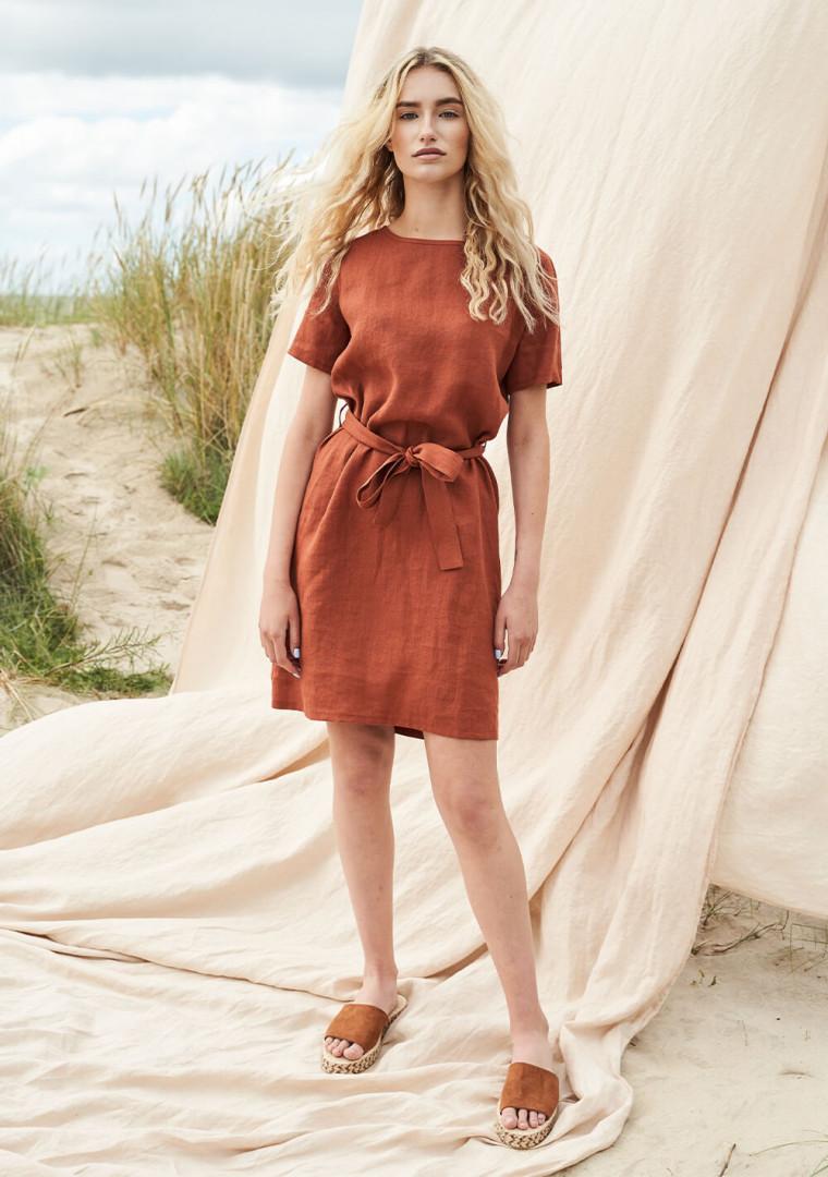 Linen dress with belt Nora 2