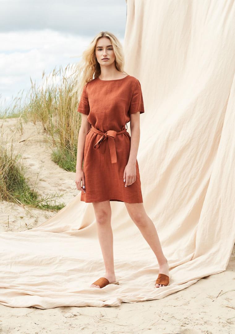 Linen dress with belt Nora 3
