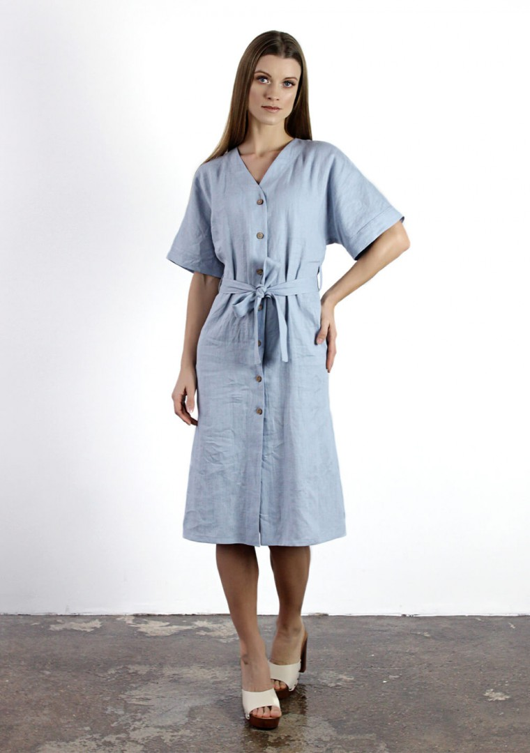 Linen button front dress with kimono sleeves Harper 2