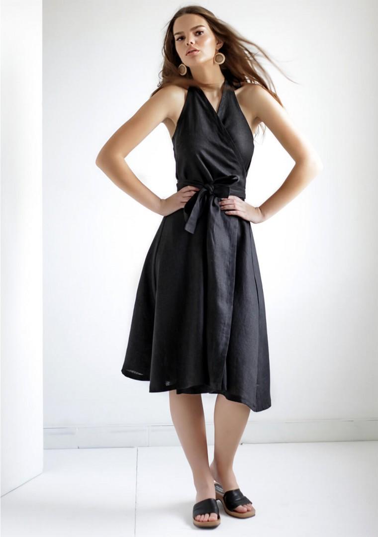 Linen halter dress Hazel in black 2