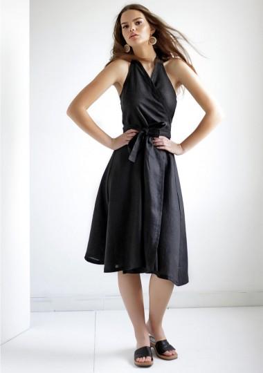 Linen halter dress Hazel in black