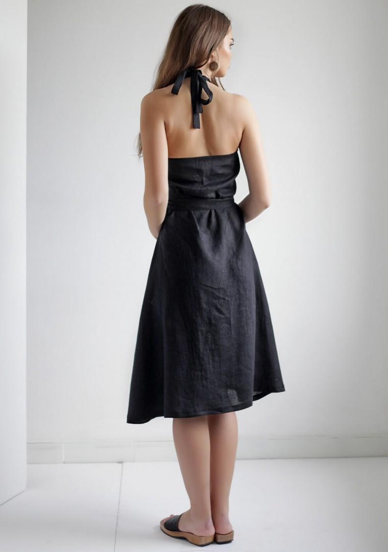 Linen halter dress Hazel in black 7