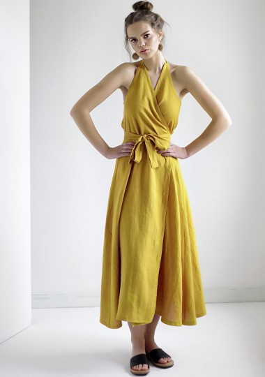 Maxi linen halter dress Josephine