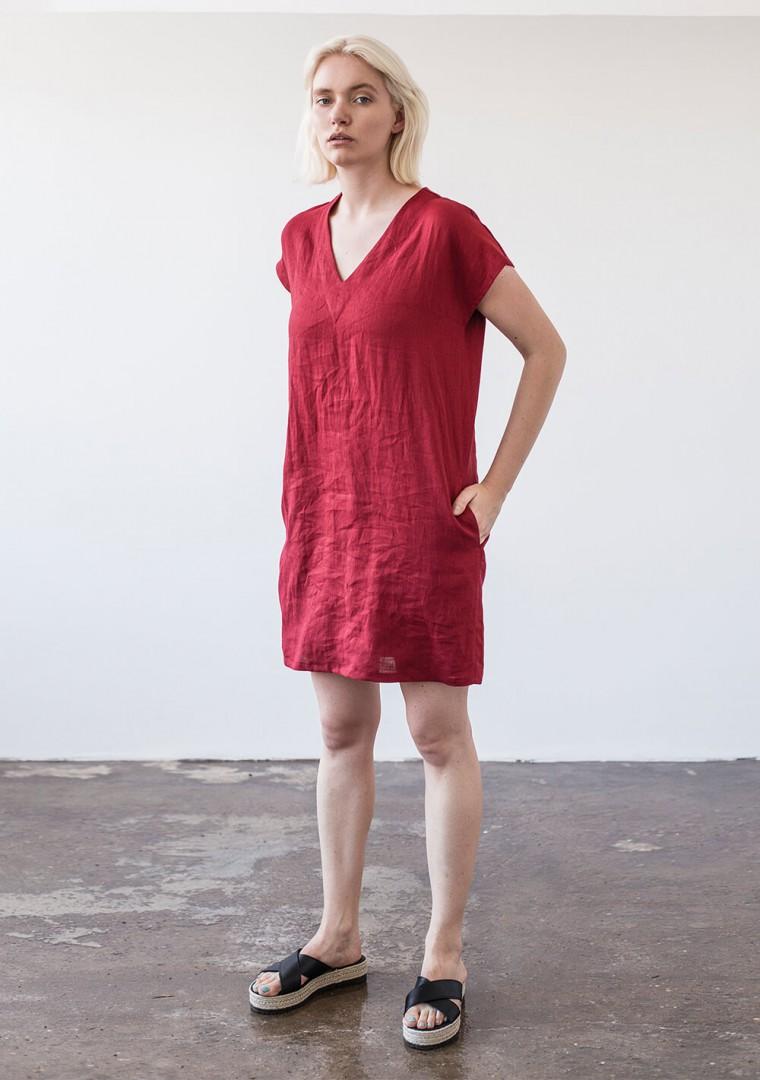 Mini linen V neck tunic dress Kimberly 1