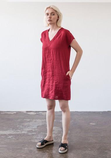 Mini linen V neck tunic dress Kimberly
