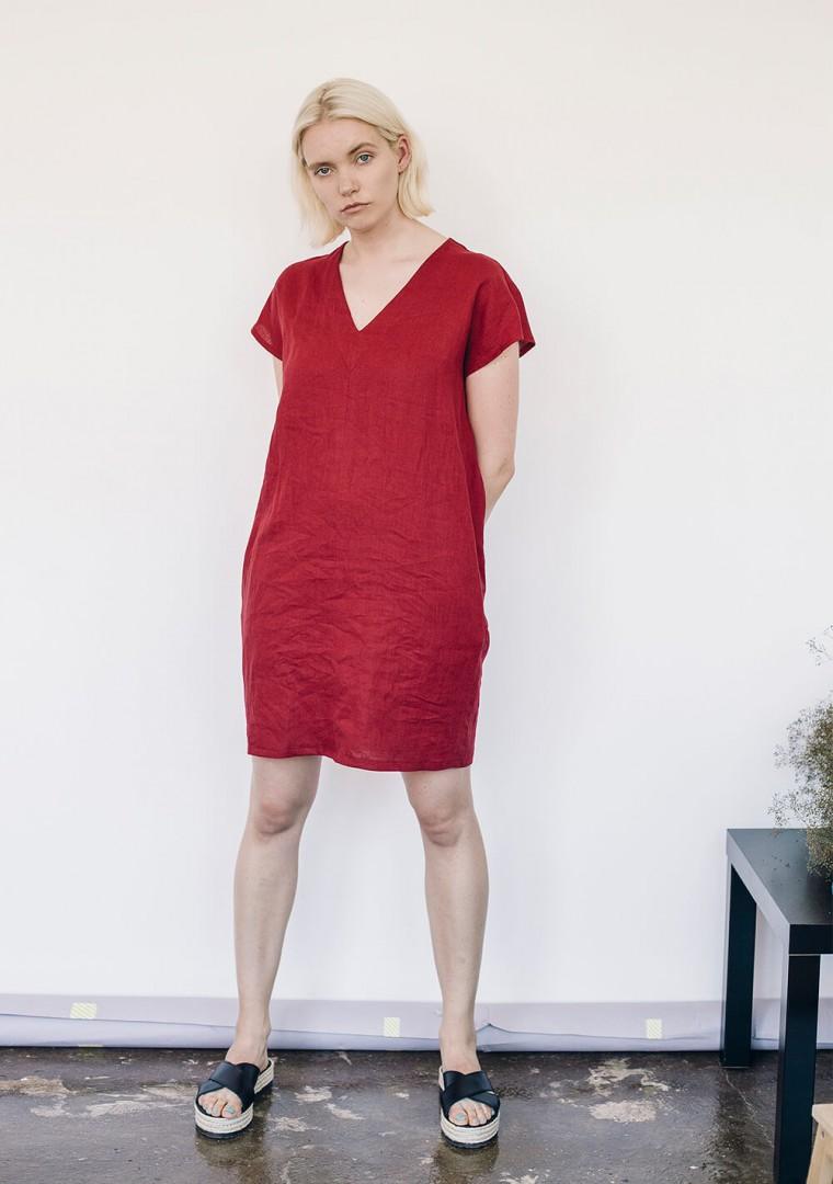 Mini linen V neck tunic dress Kimberly 3