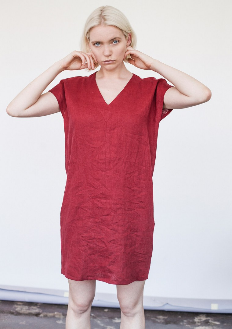 Mini linen v neck tunic dress Kimberly 2
