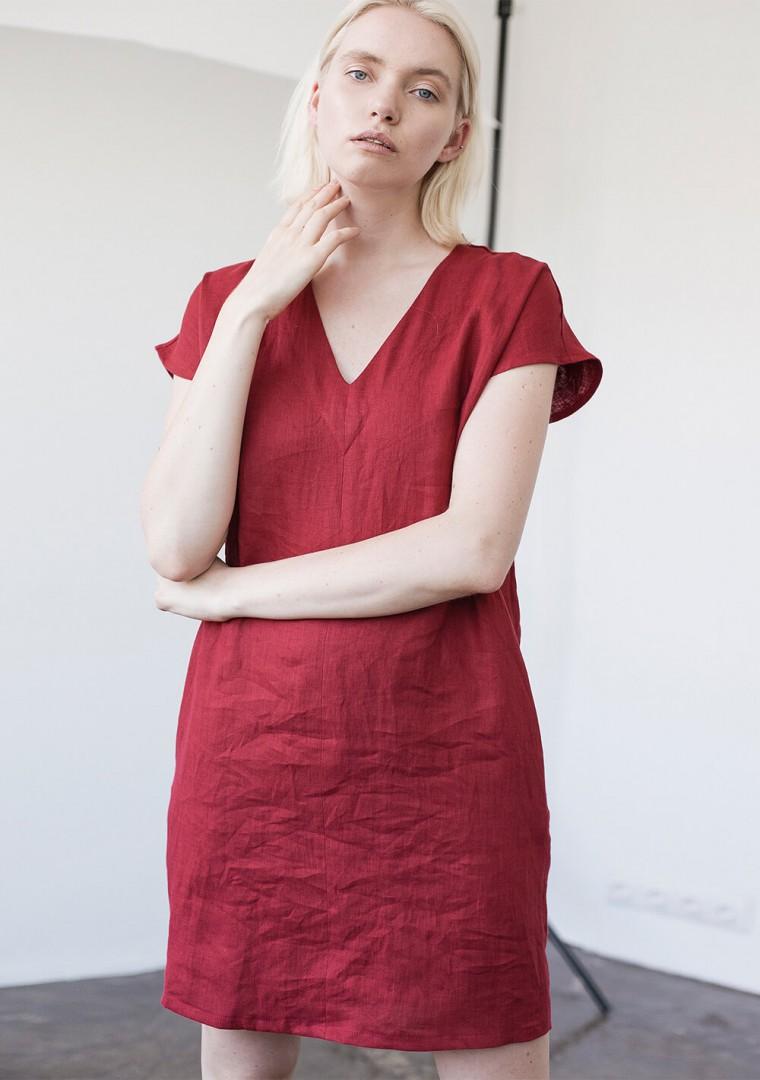 Mini linen V neck tunic dress Kimberly 4
