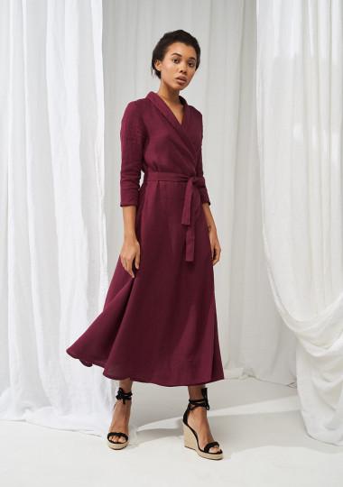 Linen shawl collar wrap dress Marlena