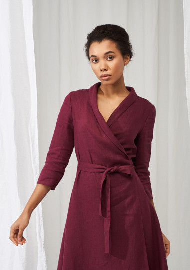 Linen shawl collar wrap dress Marlena