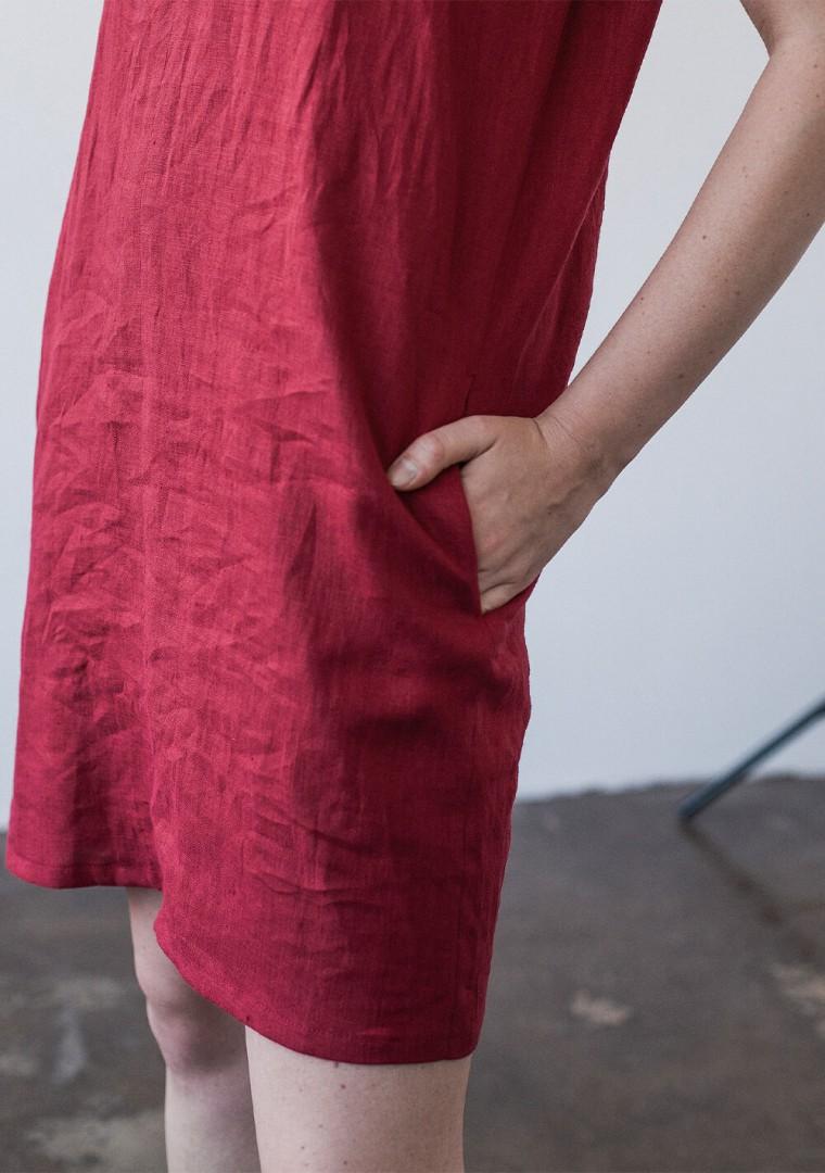 Mini linen V neck tunic dress Kimberly 5