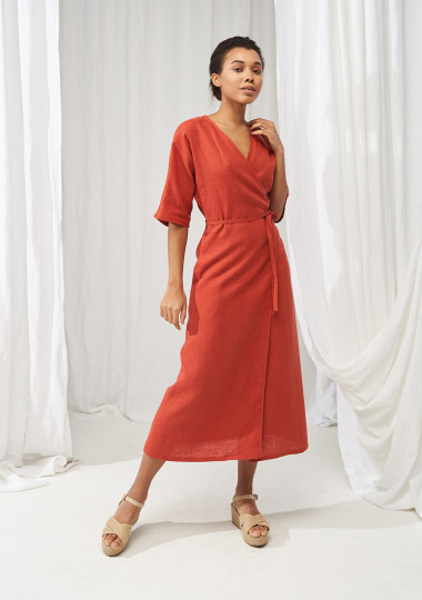 Linen maxi wrap dress Savannah