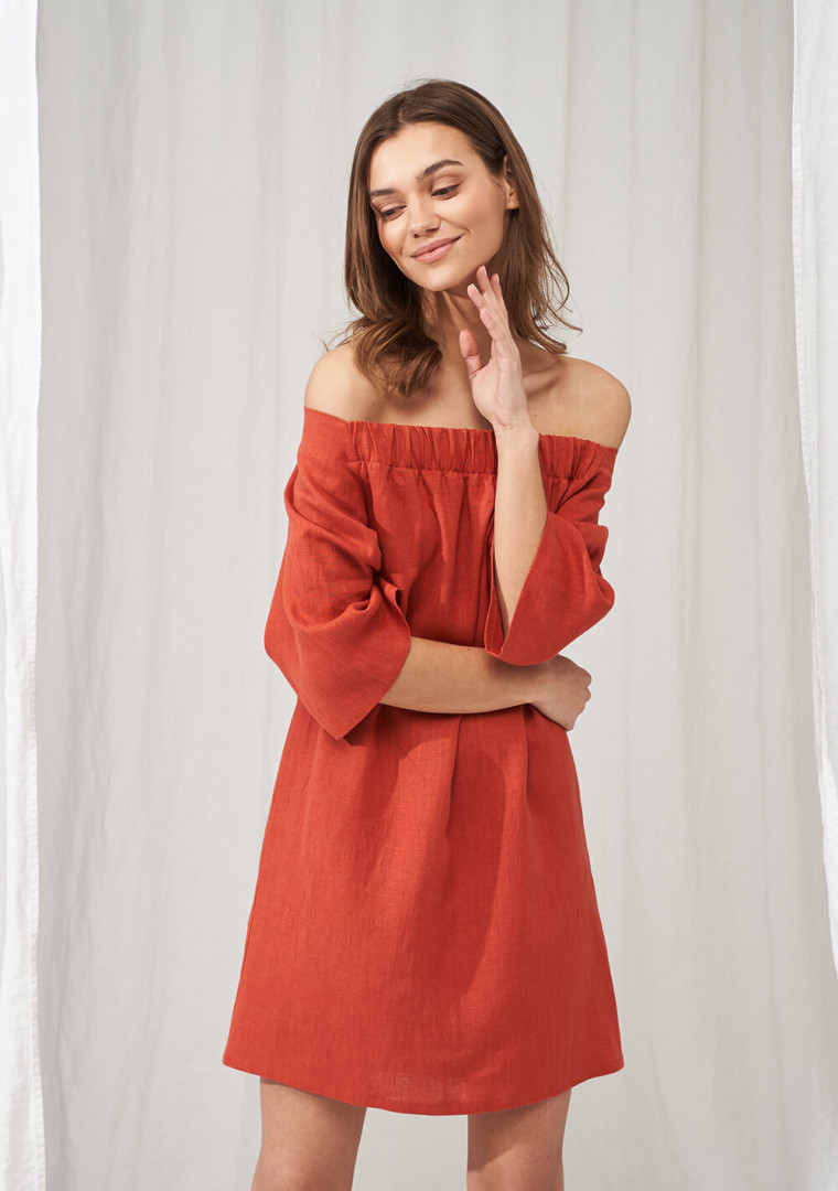 Linen off shoulder dress Bianca 1