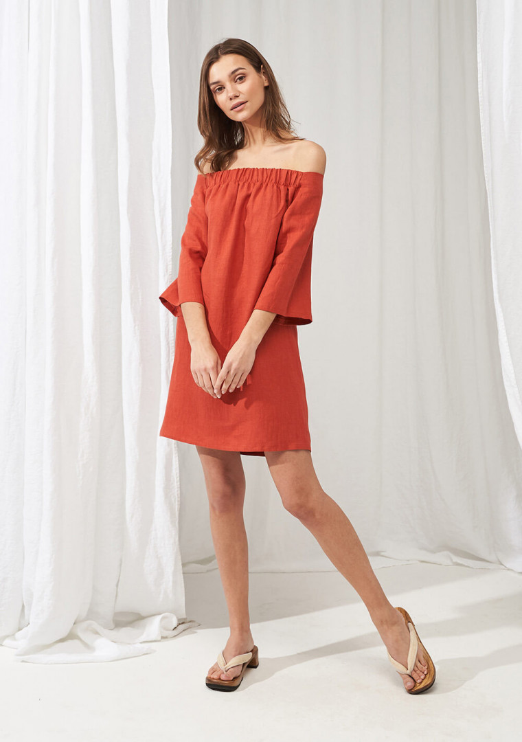 Linen off shoulder dress Bianca 2