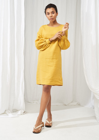 Linen baloon sleeve dress Cecilia