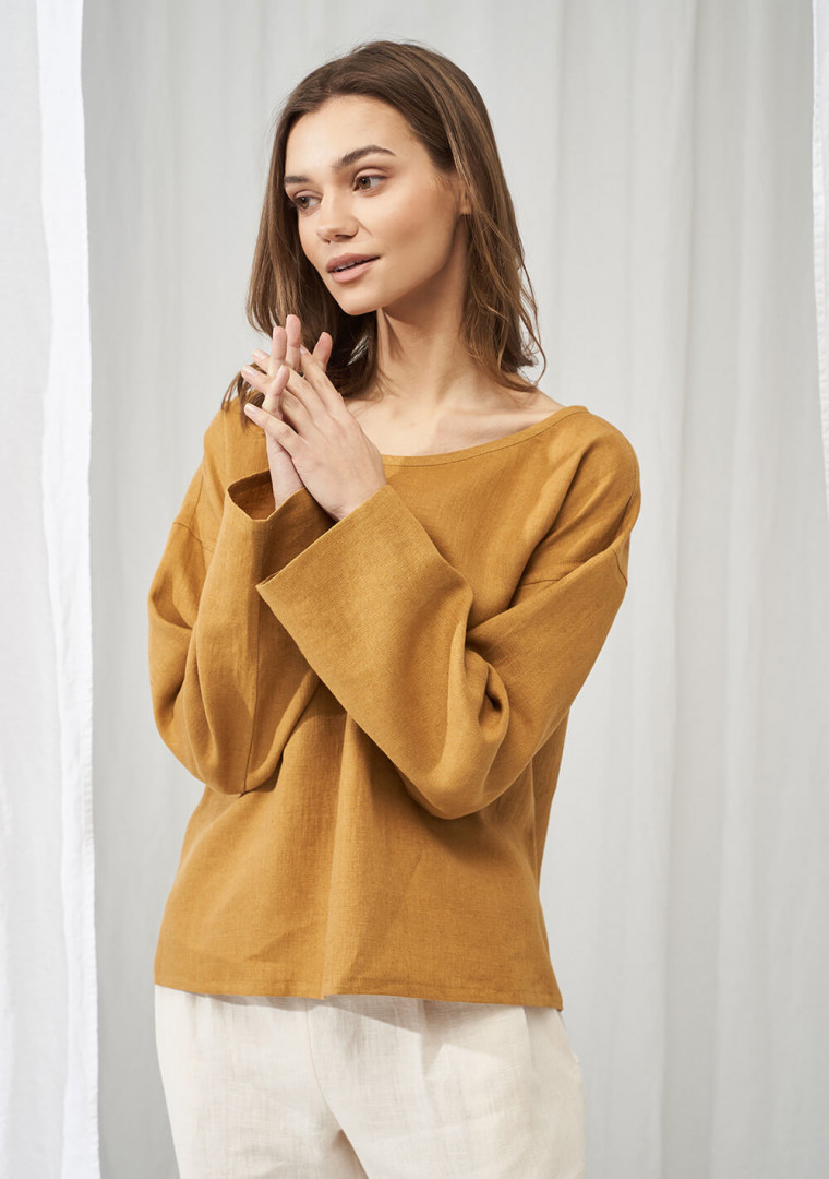Linen boat neck top with long sleeves Bruno 1