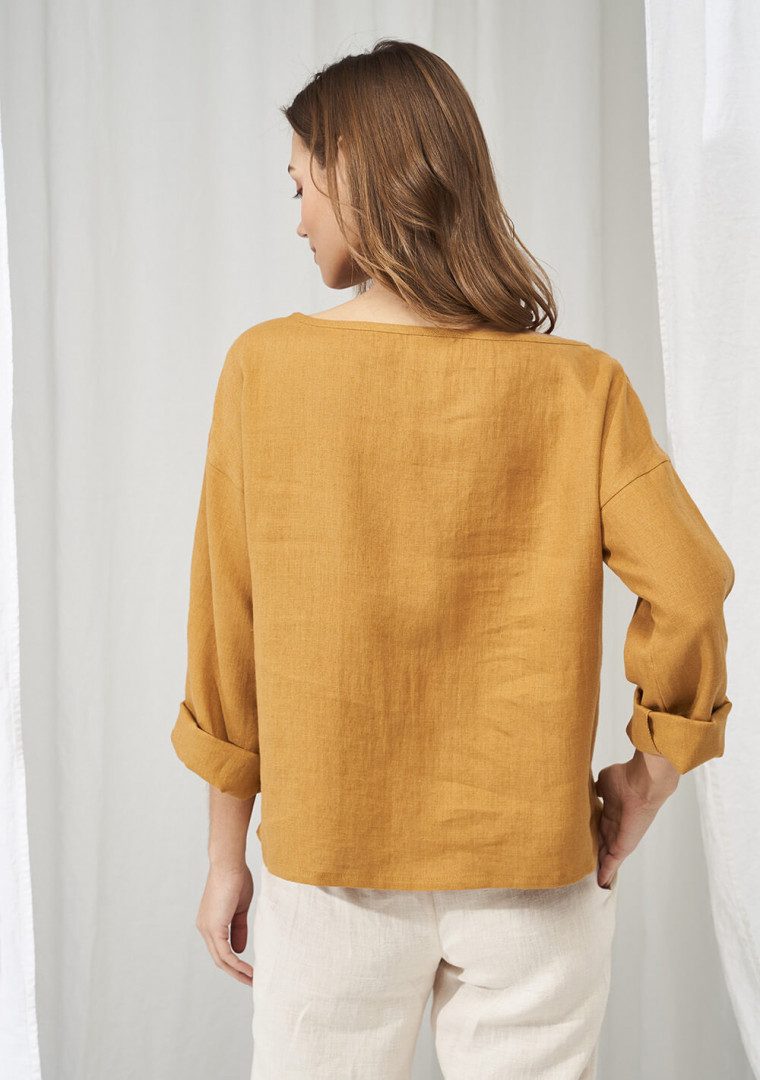 Linen boat neck top with long sleeves Bruno 3