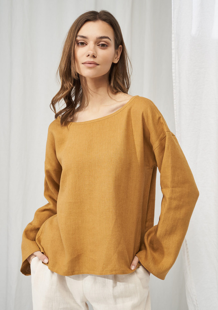 Linen boat neck top with long sleeves Bruno 2