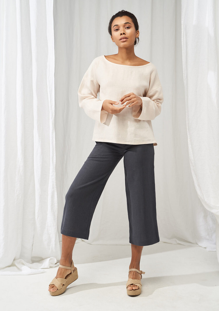 Linen boat neck top with long sleeves Bruno 4