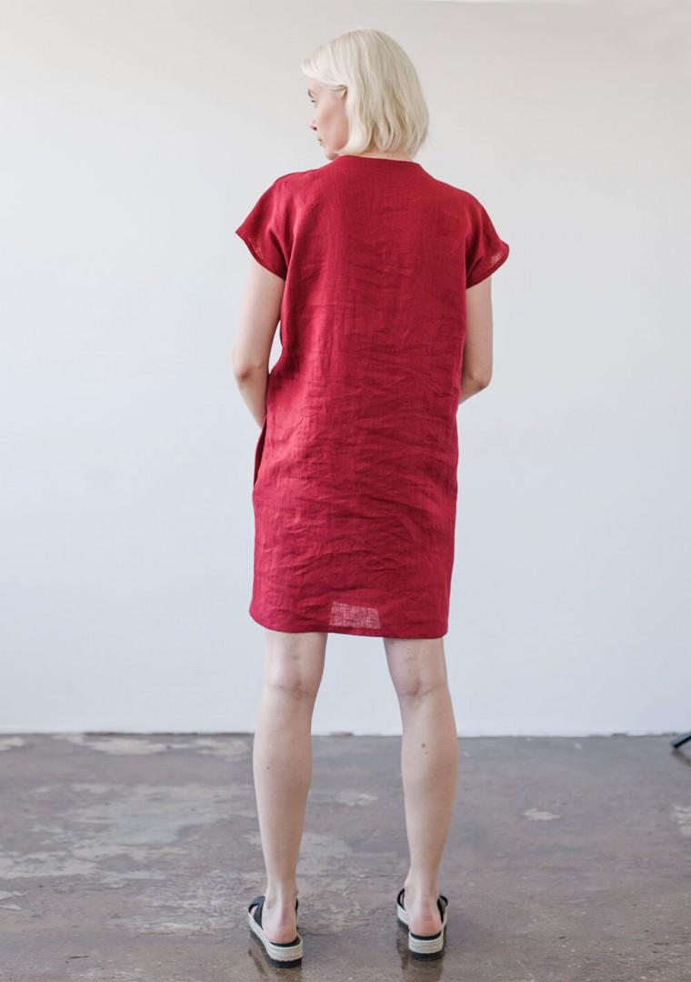 Mini linen V neck tunic dress Kimberly 6