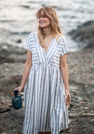 Deep V neck linen dress Valentina