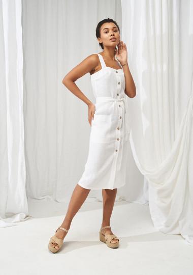Button front linen dress Ava