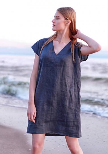 Mini linen tunic dress Kimberly