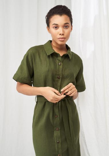 Linen short sleeve shirt dress Asuna