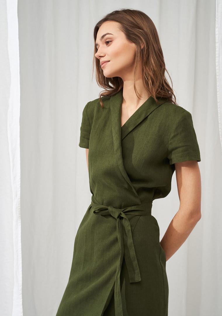 Linen mini wrap dress Safari 3
