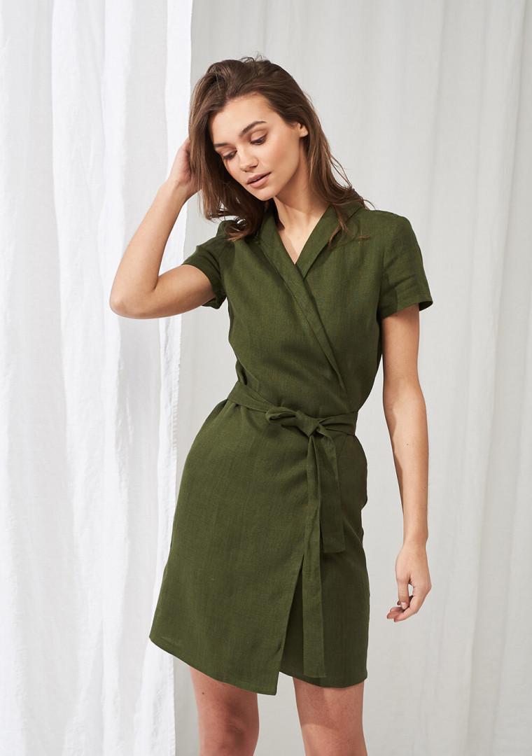 Linen mini wrap dress Safari 1