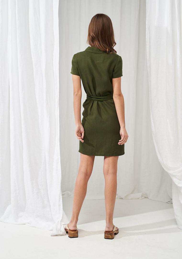 Linen mini wrap dress Safari 4
