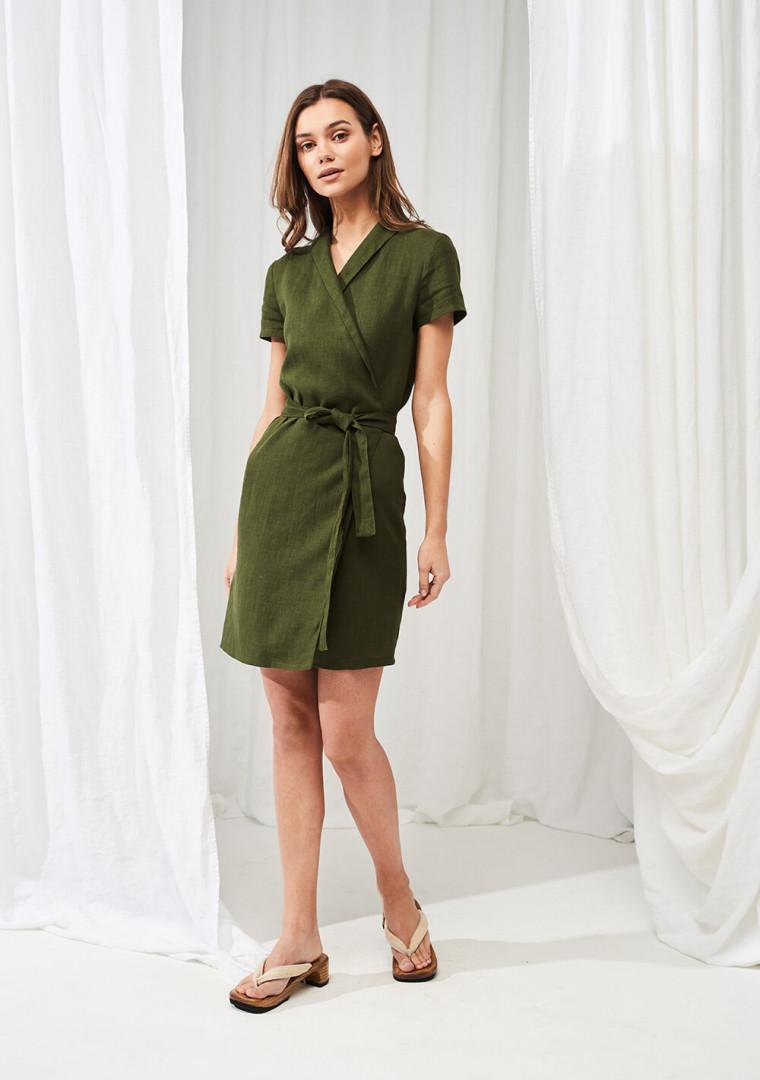 Linen mini wrap dress Safari 2