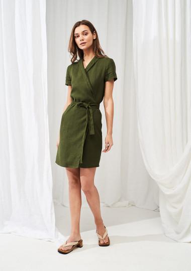 Linen mini wrap dress Safari