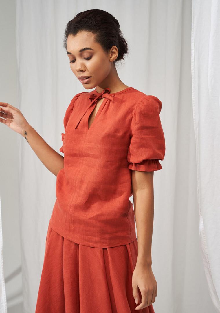 Linen puff sleeve top Lucia 1