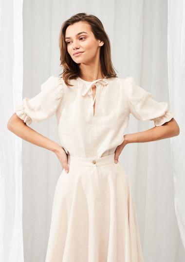 Linen puff sleeve top Lucia