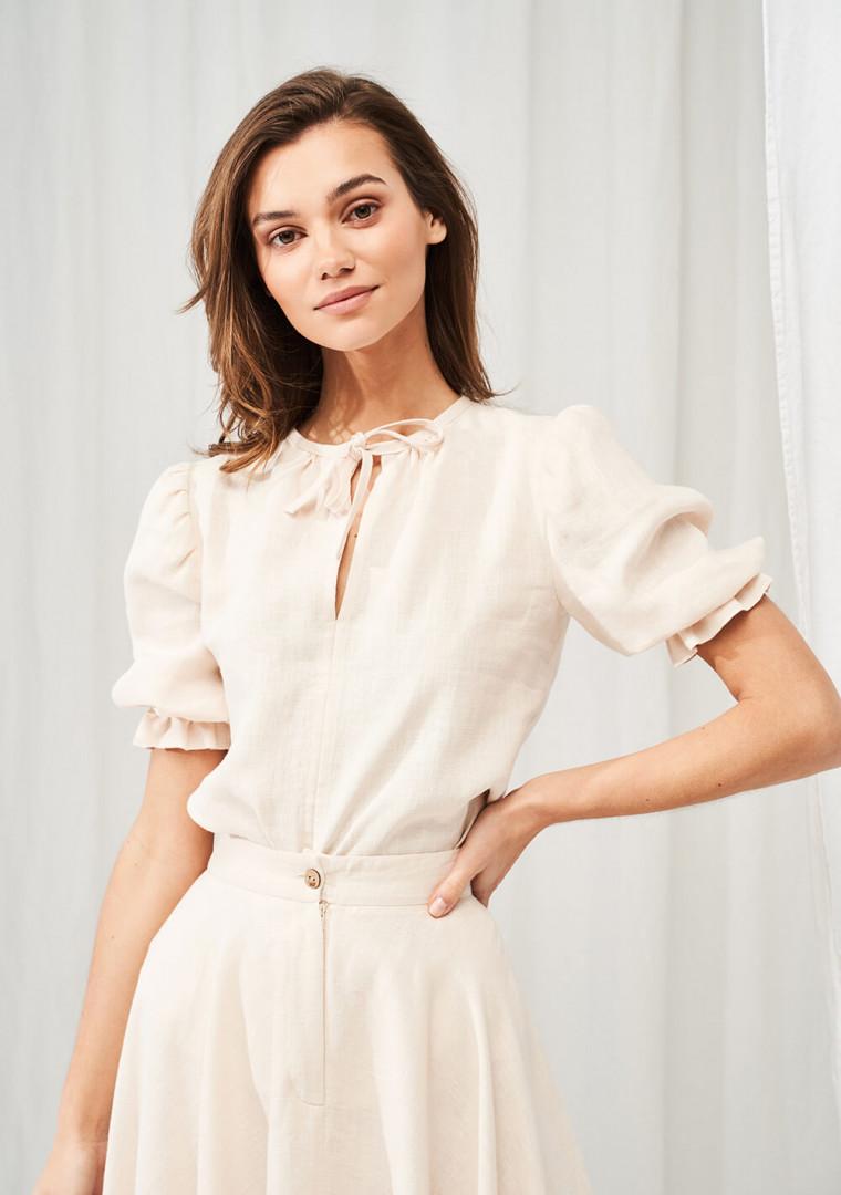 Linen puff sleeve top Lucia 3