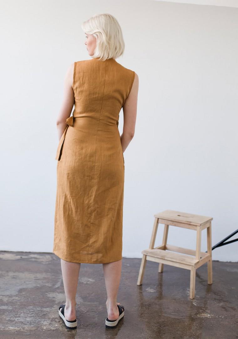 Linen wrap dress Lydia in mustard 6