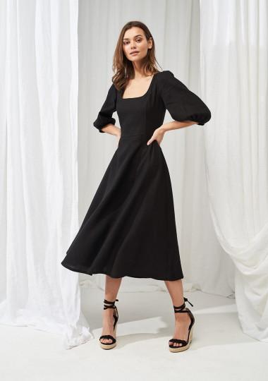 Puff sleeve linen dress Aurora