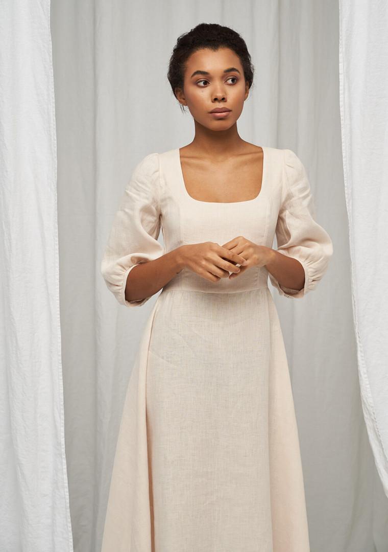 Puff sleeve dress Aurora in midi length 3