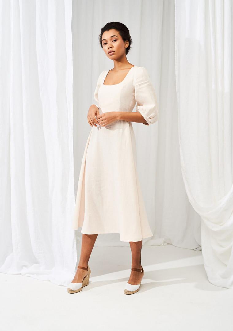 Puff sleeve dress Aurora in midi length 4