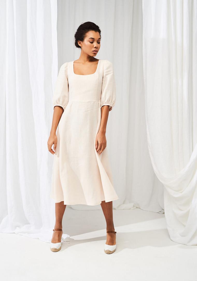 Puff sleeve dress Aurora in midi length 1