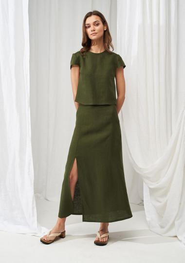 Linen front slit skirt Valencia