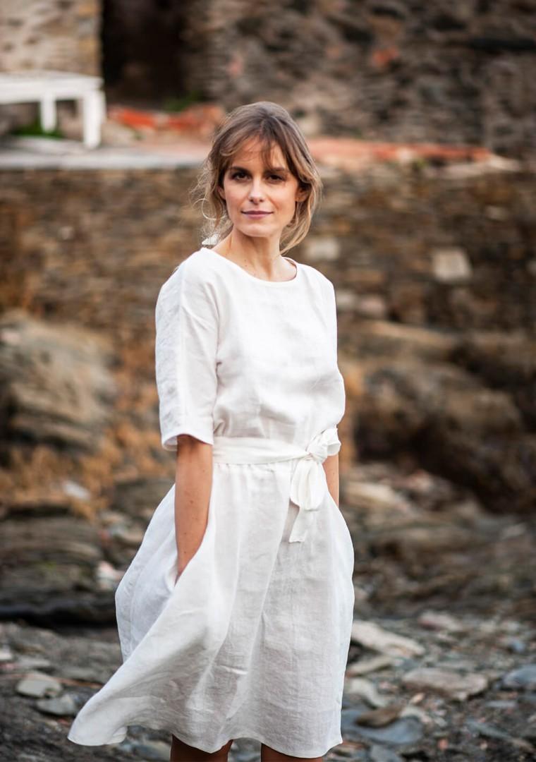 Linen dress Maeve in ivory 1
