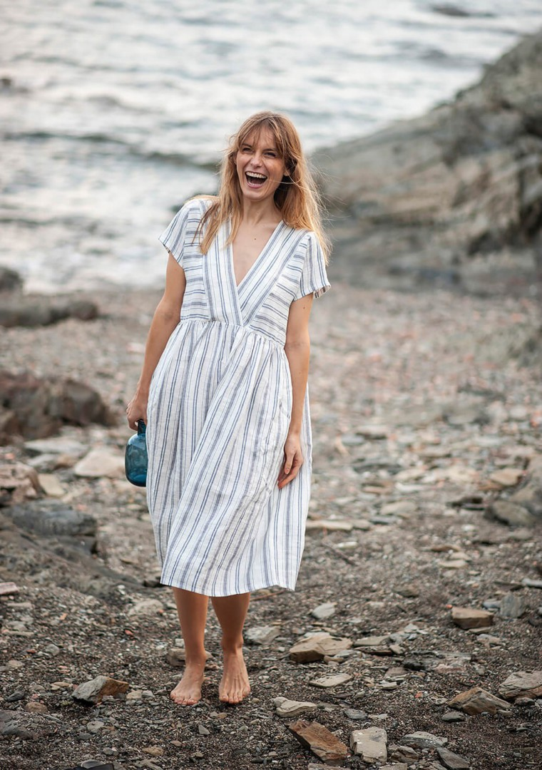 Striped linen dress Valentina 3