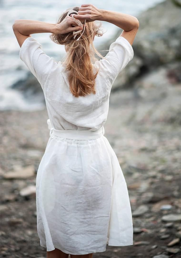 Linen dress Maeve in ivory 6