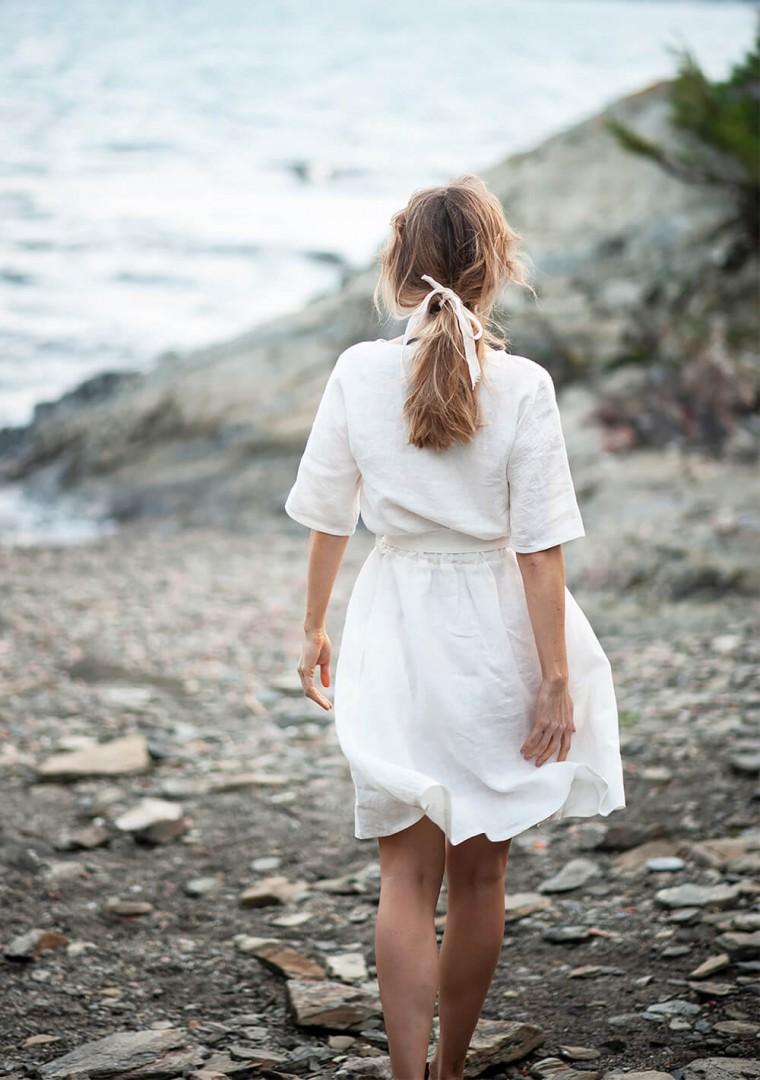 Linen dress Maeve in ivory 8