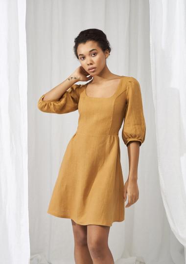 Puff sleeve linen dress Aurora mini length