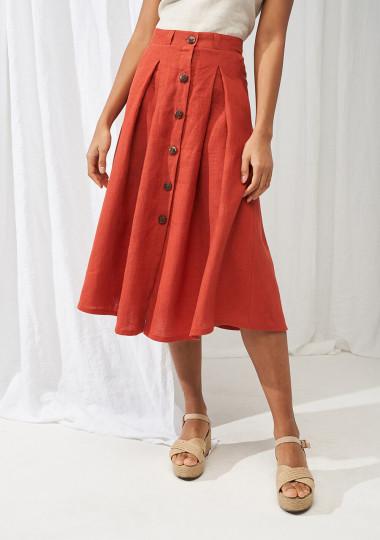 Button front linen skirt Briny